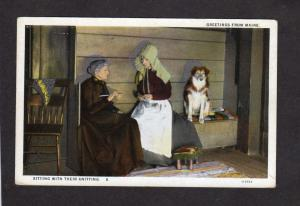 ME Vintage Postcard Greetings From Maine Dog Knitting Chair Carte Postale