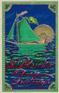 St Patricks Day Greetings - Couple in Sailboat at Sunset - Solomon Brothers - DB