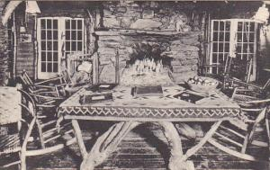 Fireplace burning in Living Room, Long Trail Lodge, Green Mountain Club, Rutl...