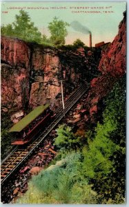 1910s Chattanooga TN Postcard Lookout Mountain Incline Railway Train Unused