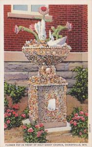 Wisconsin Dickeyville Flower Pot In Front Of Holy Ghost Church Curteich