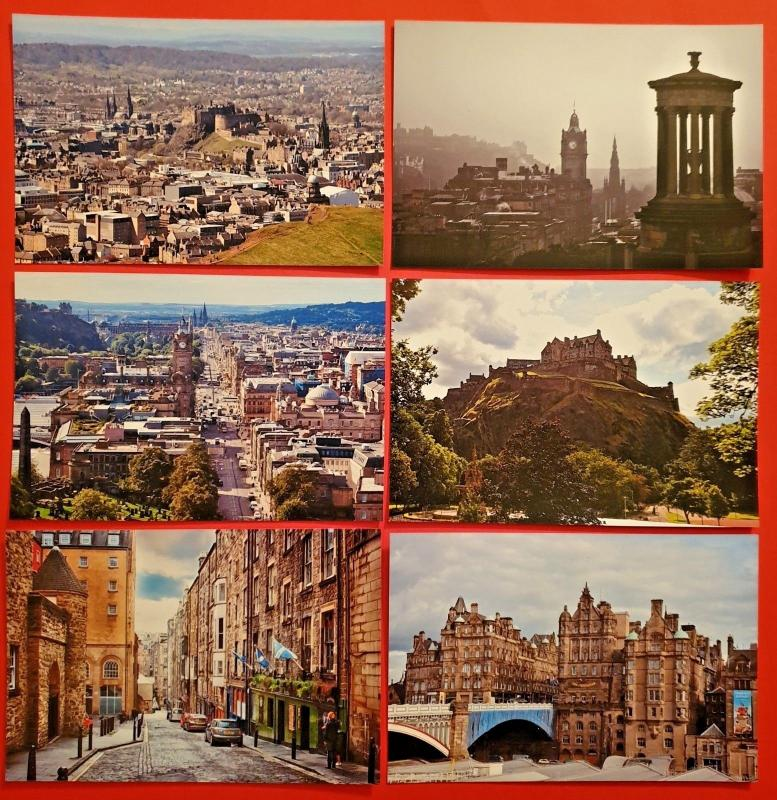 Collection of 6 New Glossy Edinburgh Scotland Postcards by Cavalier 86G