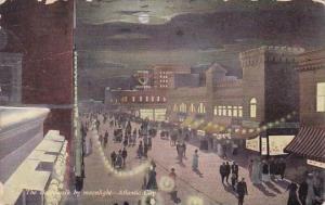 The Boardwalk By Moonlight Atlantic City New Jersey 1910