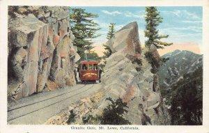 Train at Granite Gate, Mount Lowe, California, early postcard, unused