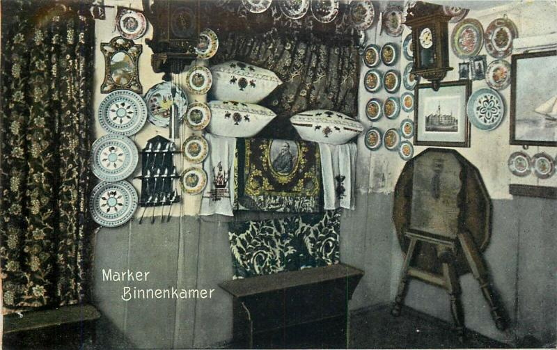 Marken room interior Netherlands early postcard