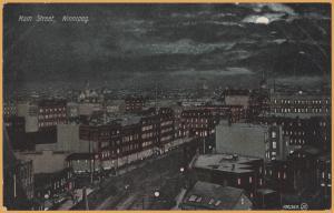Winnipeg, Manitoba - Aerial view of main street at night -