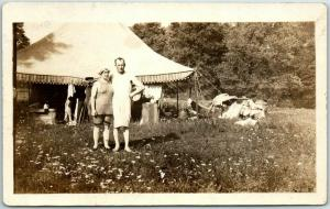 Vintage RPPC Photo Postcard Man & Woman in Bed Clothes at Tent / Camping c1910s