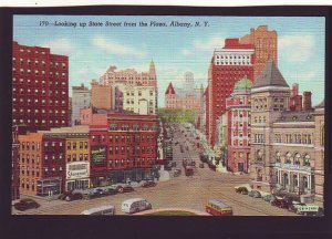 P1555 old unused postcard traffic store signs etc state st. albany new york