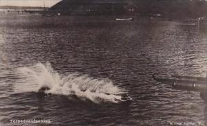 German Warship Torpedo Being Fired Real Photo