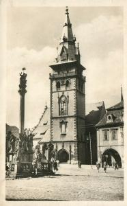 CZECH REPUBLIC CHOMUTOV CITY TOWER VINTAGE REAL PHOTO POSTCARD RPPC