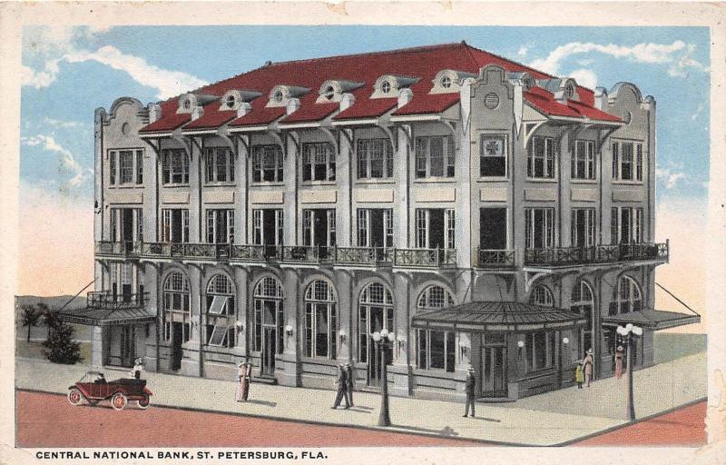 B89/ St Petersburg Florida Fl Postcard c1910 Central National Bank Building