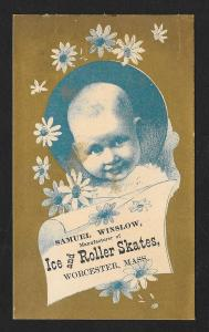 VICTORIAN TRADE CARD Winslow Ice Roller Skates Couple Skates