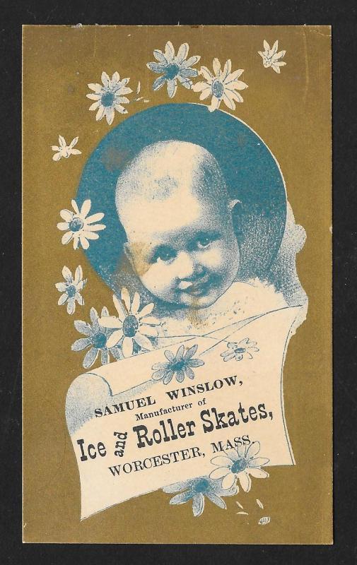 VICTORIAN TRADE CARD Winslow Ice Roller Skates Couple Skates