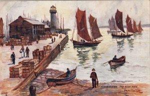 P1749 vintage unused tucks art postcard signed scarborough fish pier, UK