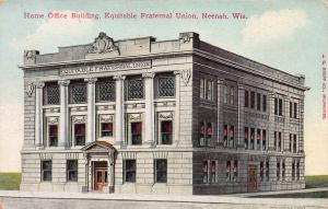 Home Office Bldg., Equitable Fraternal Union, Neenah, WI, Early Postcard, Used