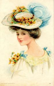 Fashion - Lady With White Hat, Blue Plume, Flowers