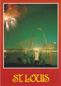 Fireworks over Mississippi River, St. Louis, Missouri, United States, 60´s-8...