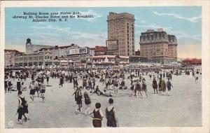 New Jersey Atlantic City Bathing Scene Near State Avenue Showing Saint Charle...