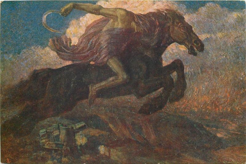 War allegory horse over plains signed Guido Zuccaro Kultur