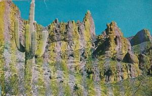 Arizona Mesa Superstition Mountain With GIant Saguaro Cactus