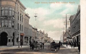 Canada Alberta Eight Avenue looking West Calgary Horse Carriage Ride Postcard