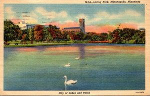 Minnesota Minneapolis Scene In Loring Park 1953 Curteich