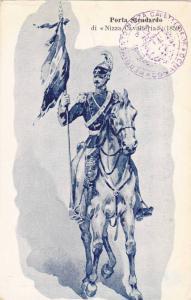 Italian Military Man On A Horse Holding A Flag, Porta Stendardo Di Nizza Cav...