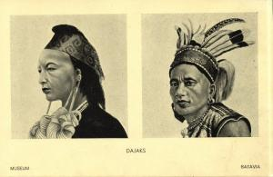 indonesia, BORNEO, Native Dayak Dajak Types (1930s) Batavia Museum Postcard (1)