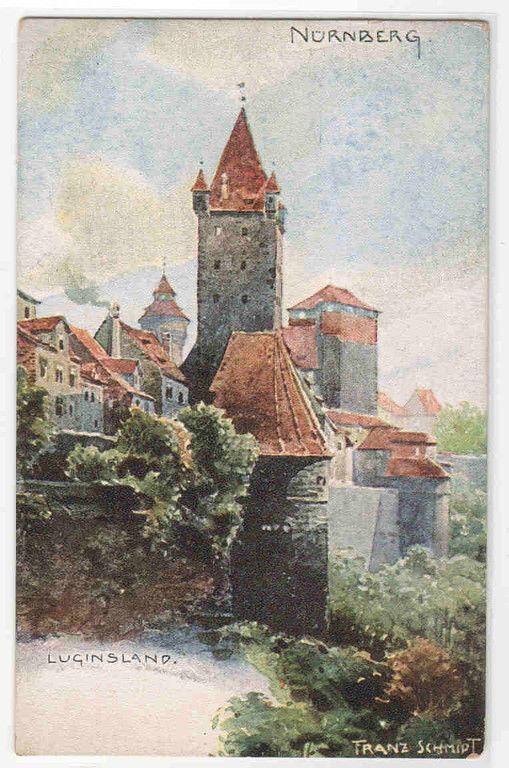 Luginsland Nuremberg Germany Art Artist Signed Franz Schmidt 1910c postcard