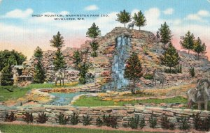 Postcard Sheep Mountain Washington Park Zoo Milwaukee Wisconsin