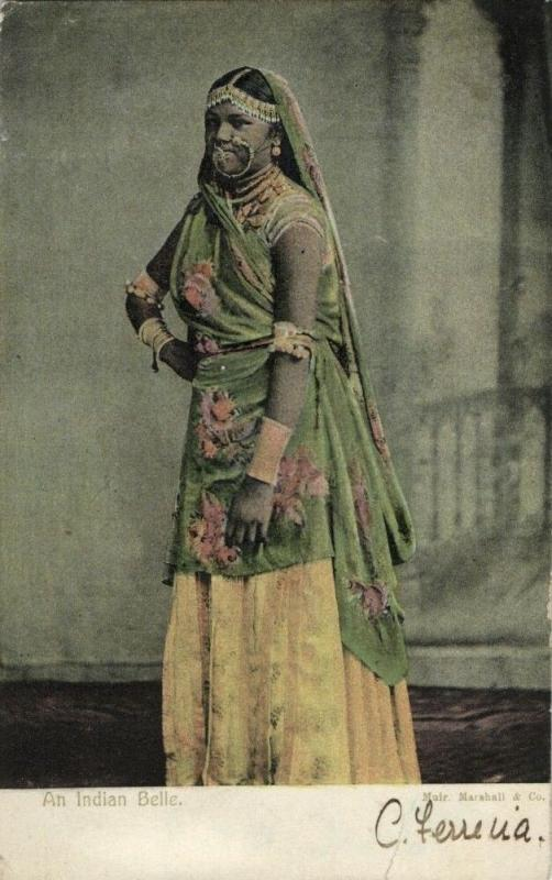 trinidad, B.W.I., Indian Belle, Necklace Nose Piercing, Jewelry (1907) Postcard