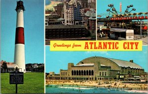 Postcard NJ New Jersey Atlantic City Greeting 4 Scene Banner Lighthouse Beach