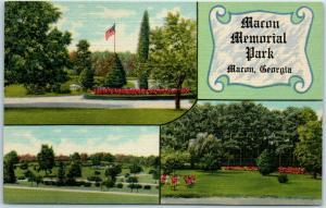 Macon, Georgia Postcard MACON MEMORIAL PARK Cemetery 3 Views Linen c1940s Unused