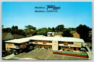 Stockton California~Stockton TraveLodge Motel~Telephone Booth~1950s Cars