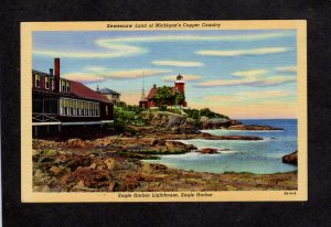 MI Eagle Harbor Light House Lighthouse Keweenaw Land Copper Michigan Postcard