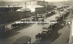 chile, VALDIVIA, Estacion, Railway Station, Old Cars, Horse Carts (1920s) RPPC