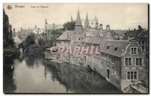 Old Postcard Belgium Bruges Rosary Quay