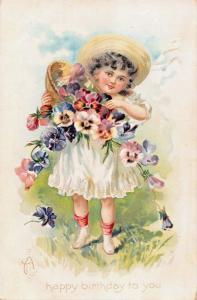 BIRTHDAY GREETINGS 1910s EMBOSSED POSTCARD YOUNG GIRL-FLOWERS-TUCK SERIES