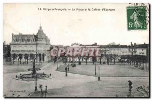 Old Postcard Vitry le Francois Bank Place and Caisse d & # 39Epargne