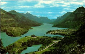 Waterton Lakes Alberta Canada Aerial View Postcard unused 1960s