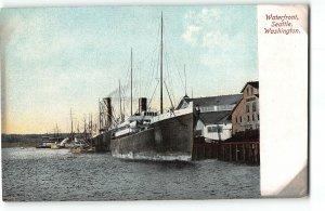 Ships Pierside at the Waterfront, Seattle, Washington - c1910 Postcard