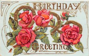 Birthday Calligraphy~Pink Roses Vine on Gold Horseshoes~Deeply Embossed~Germany