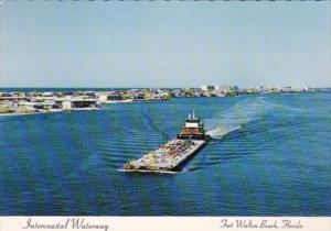 Florida Fort Walton Beach Intercoastal Waterway With Tugboat and Barge
