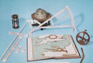 Ship Navigation Antique Equipment Globe Sandglass Atlas Postcard