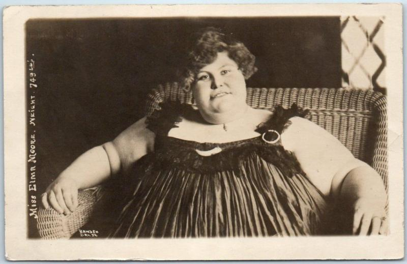 1910s RPPC Real Photo Postcard Miss Emma Moore, Weight 749 Lbs BAWDEN Photo