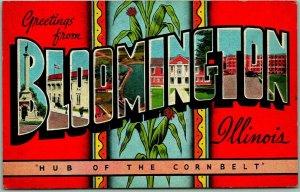 1940s BLOOMINGTON Illinois Large Letter Postcard KROPP Linen / 1943 Cancel