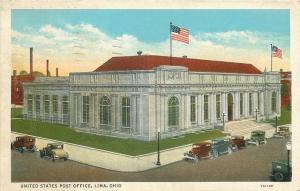 Lima Ohio~United States Post Office~Vintage Cars~1931 Postcard