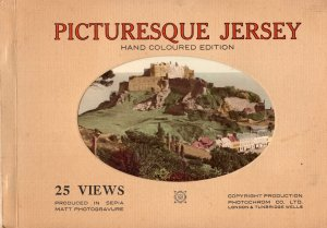 Pituresque Jersey 25 Views Rare Sepia Plates Vintage Painting Book