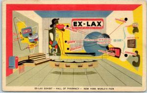 1939 New York World's Fair Postcard :EX-LAX EXHIBIT - Hall of Pharmacy Linen