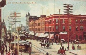 F72/ Boise City Idaho Postcard 1908 Street Scnee Trolley Stores
